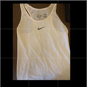 Nike Pro Fitted Dri Fit Tank in white